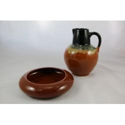 Komplet ceramiczny - dzbanek i miska