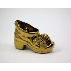 Złoty but, ręcznie wyrabiane kwiaty