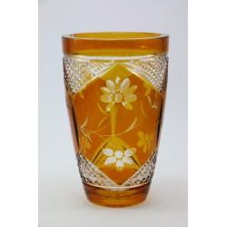 Miodowy wazon - grube kryształowe szkło