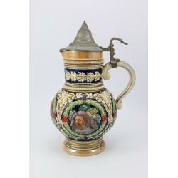 Kufel - dzban ceramiczny z cynową klapką