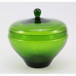 Bomboniera z pokrywką - zielone szkło