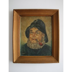 Obraz olejny portret Mężczyzna z fajką - Bohm