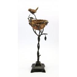 Metaloplastyka dekoracja wróbel z gniazdem