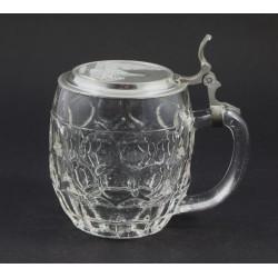 Mały kufel szklany z cynową klapką