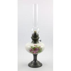 Lampa naftowa cyna i porcelana