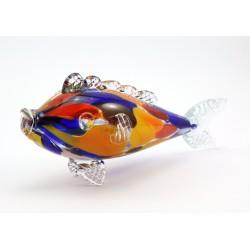 Mała ryba - szkło kolorowe, dmuchane PRL