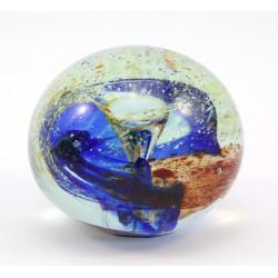 Przycisk do papieru -szklana kula szkło rwane