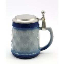 Kufel szklany z cynową klapką