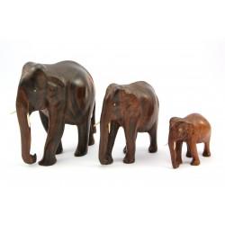 Figurka słoń - zestaw 3 figurek drewnianych