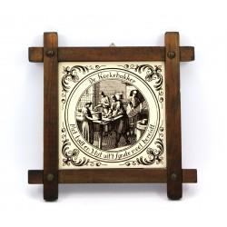 Obrazek kafelek ceramiczny w drewnianej ramce