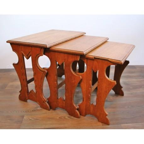Trojaki drewniane - zestaw stolików